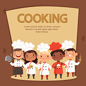Kids characters prepare food. Cooking kids chefs banner vector template