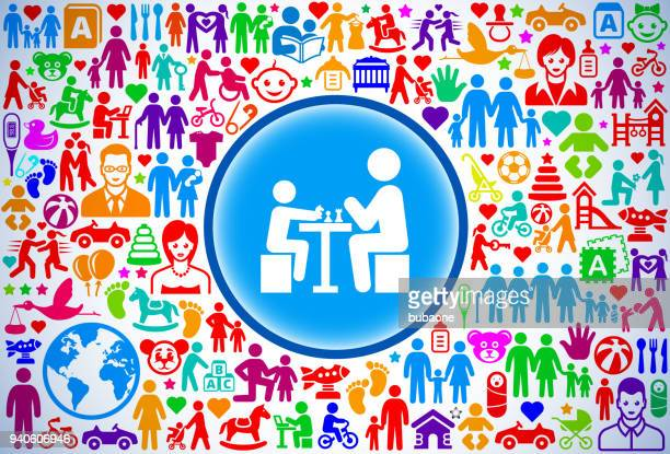 Kids Chess Game Family and Parenthood Vector Icon Pattern