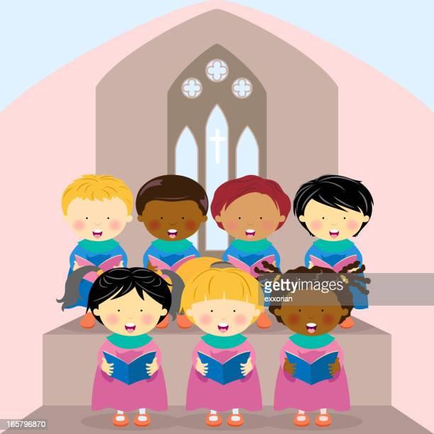 kids choir - church stock illustrations, clip art, cartoons, & icons
