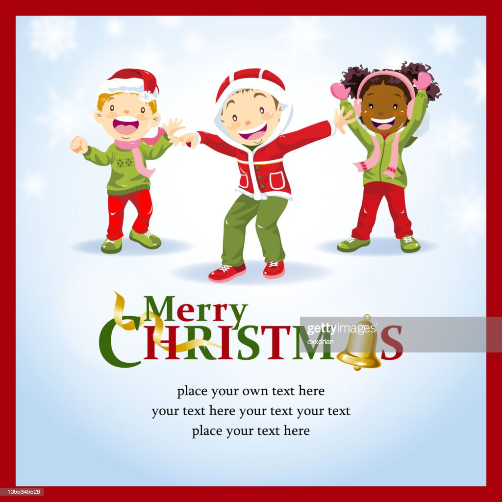 Kids Christmas Dancing Party Invitation stock illustration