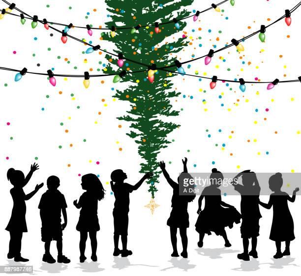 Kids Christmas Tree Celebrating