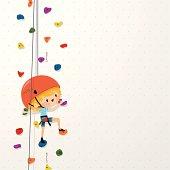 kids climb up sport boy climbing wall illustration vector