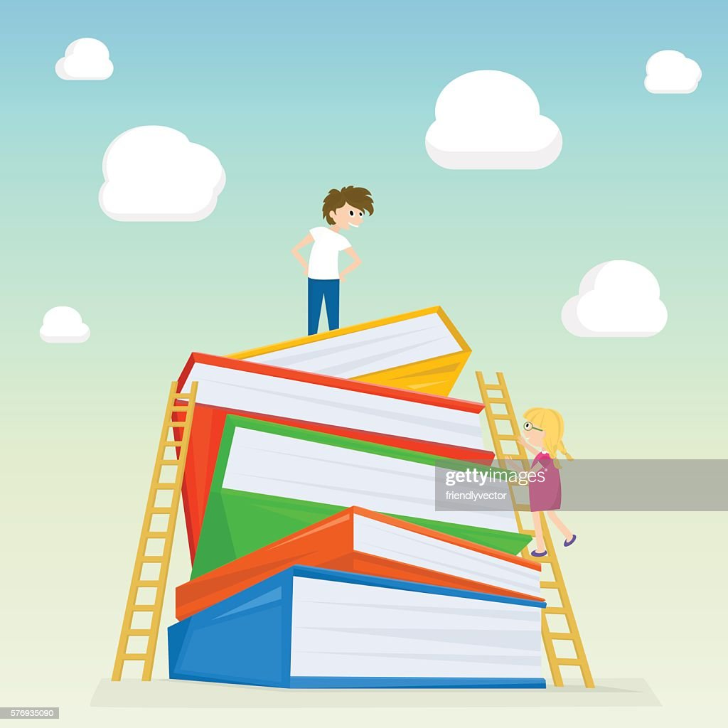 Kids climbing on stairs to the large stack of books.