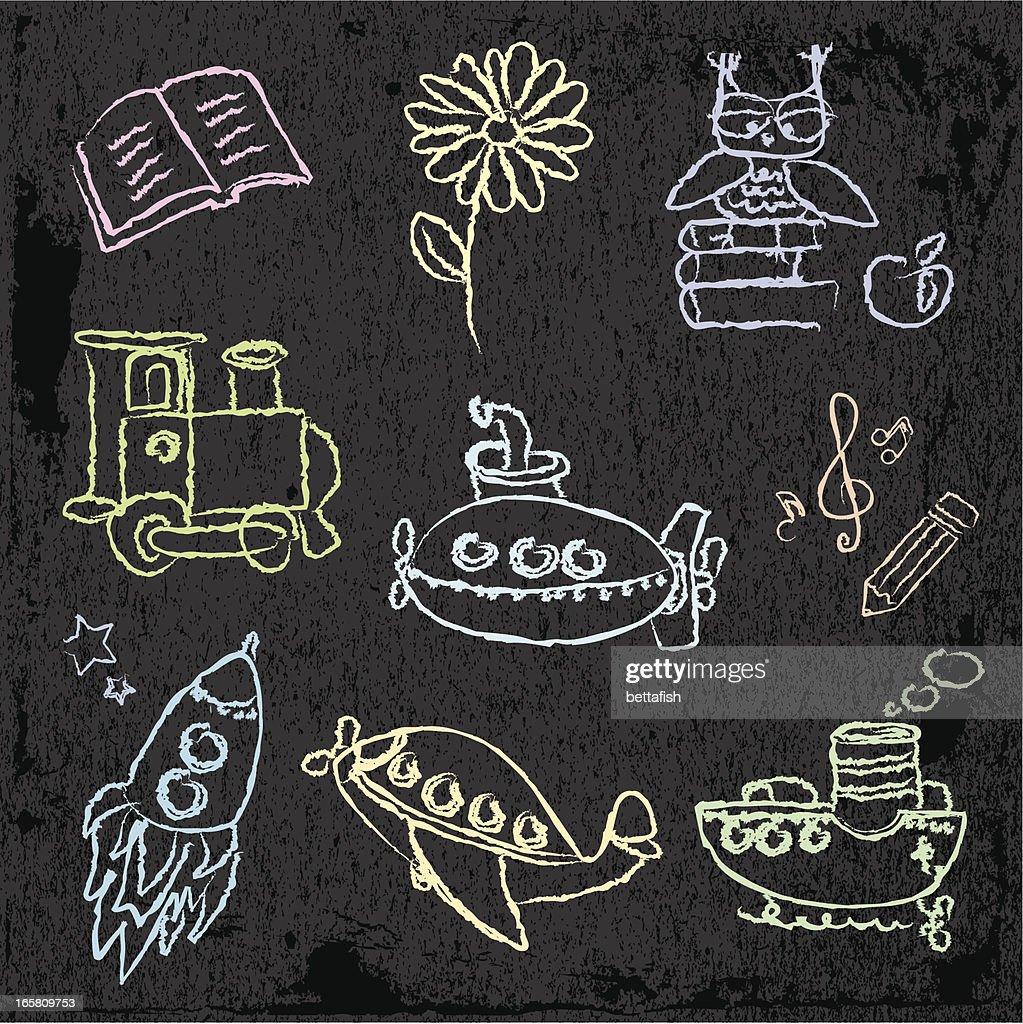 Kids color chalk drawings