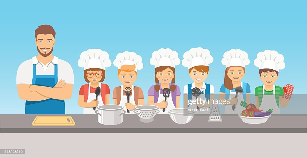 Kids cooking class with man teacher flat illustration