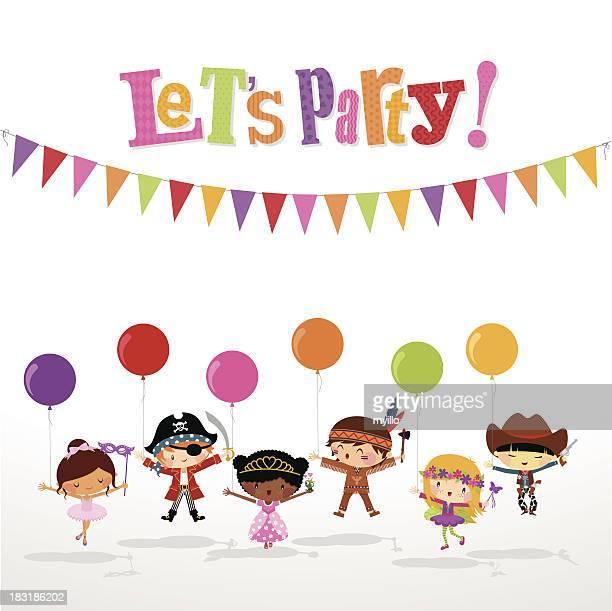 kids costume party - princess stock illustrations
