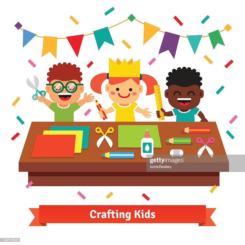 Kids crafts in kindergarten. Creative children