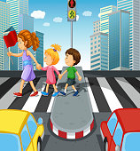 Kids crossing the road at zebra crossing