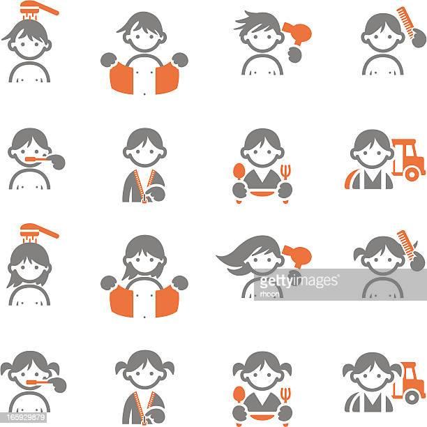 kids daily morning icons - brushing teeth stock illustrations