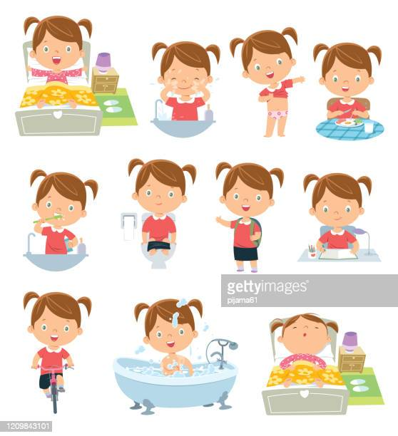 kids daily routine activities - routine stock illustrations