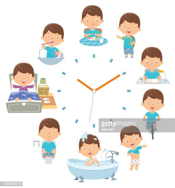 kids daily routine activities - breakfast cartoon stock illustrations