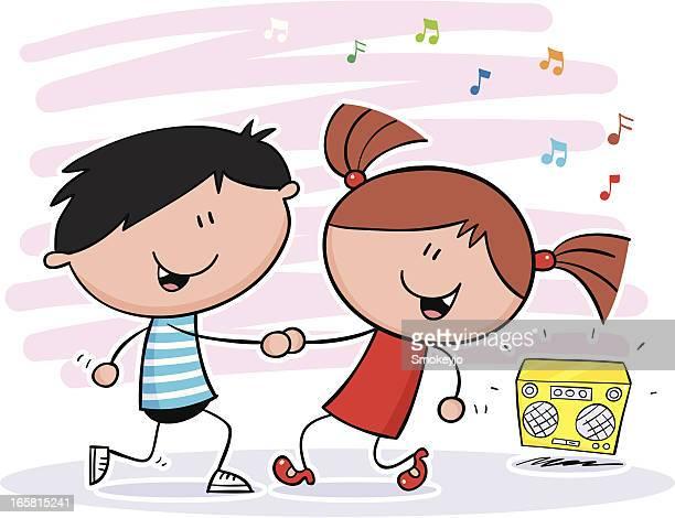 ilustraciones, imágenes clip art, dibujos animados e iconos de stock de danza de niños - baile moderno