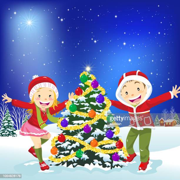 kids dancing around the christmas tree - naughty america stock illustrations