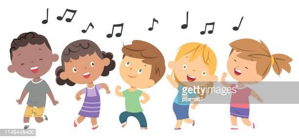 ilustrações de stock, clip art, desenhos animados e ícones de kids dancing - criança