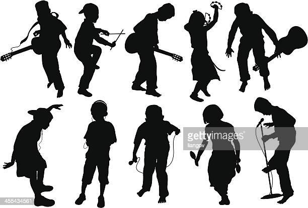 kids dancing - musical instrument stock illustrations, clip art, cartoons, & icons