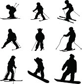 Kids Day Skiing Vector Silhouette