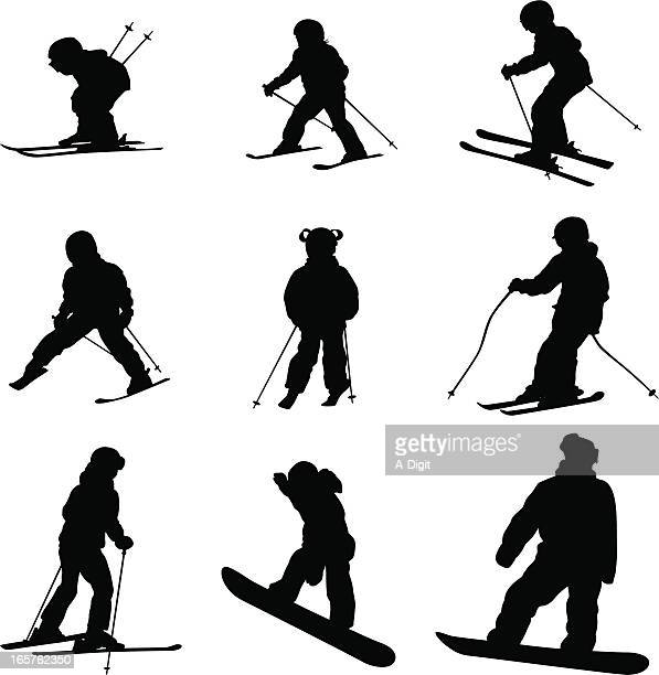 kids day skiing vector silhouette - ski goggles stock illustrations, clip art, cartoons, & icons