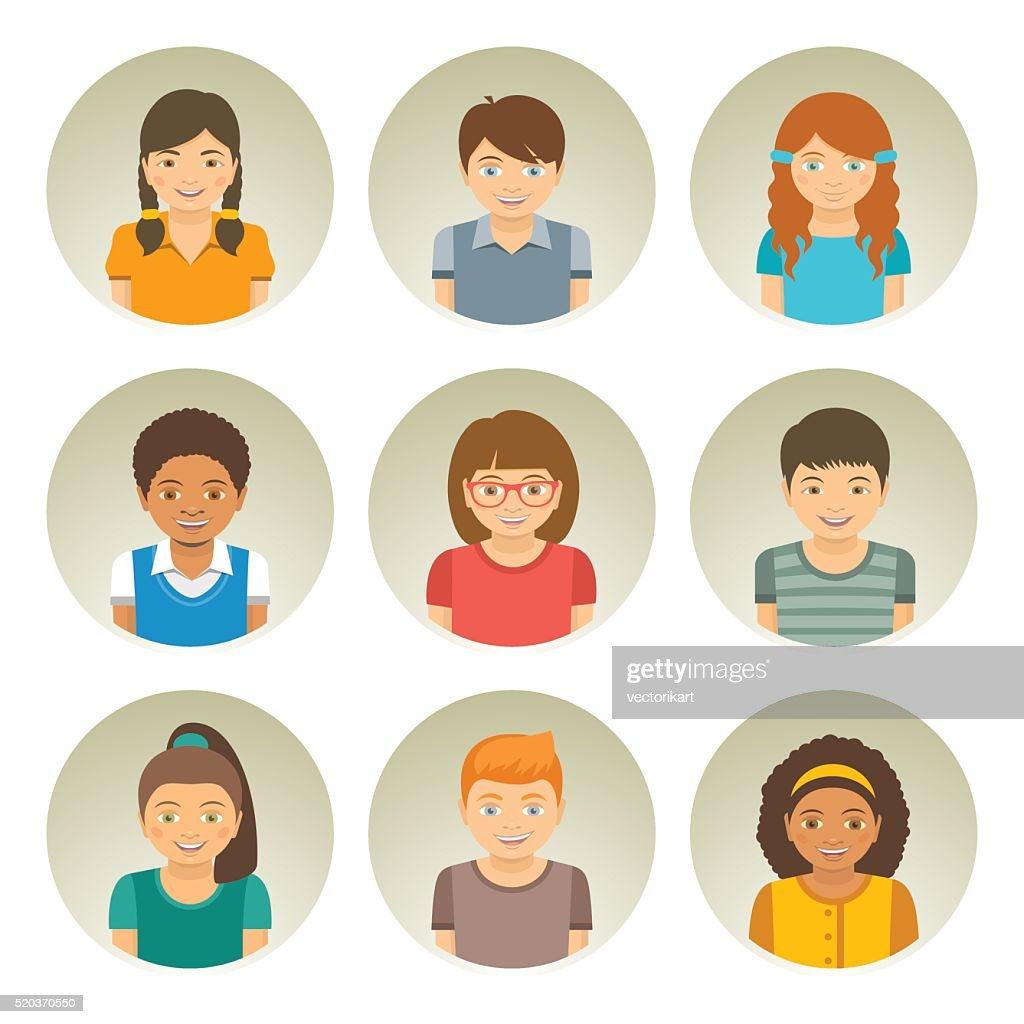Kids different races round flat vector avatars