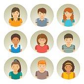 Kids different races round flat vector avatars