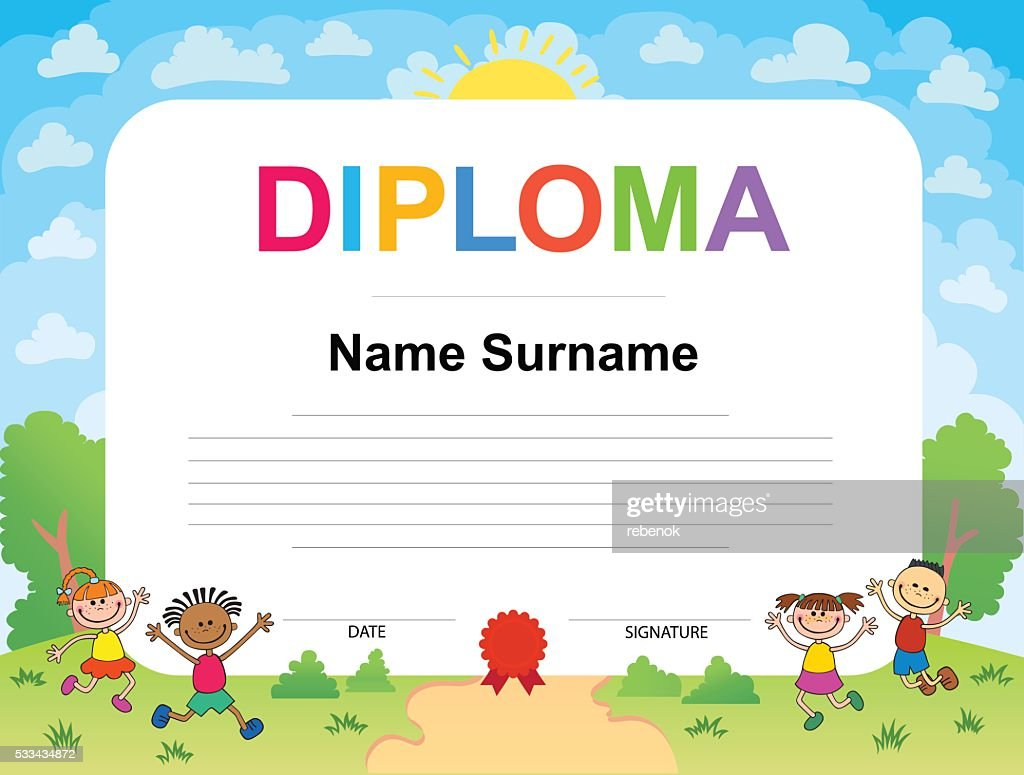 Kids Diploma certificate background design template