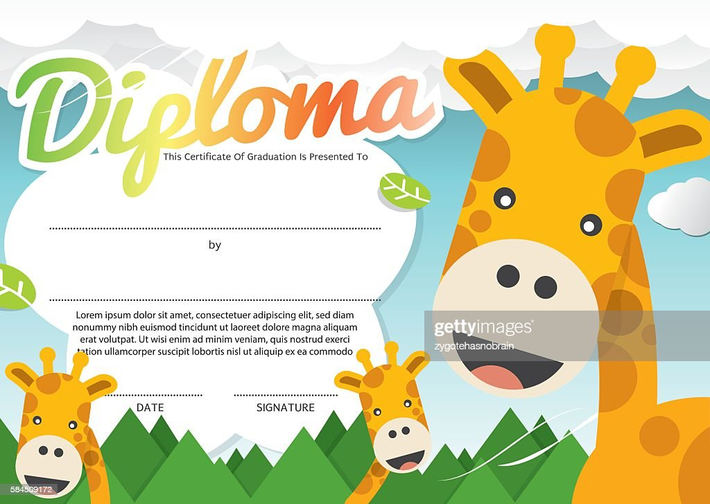 Kids Diploma Certificate Template Vector Illustration.