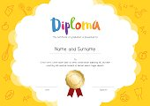 Kids Diploma or certificate template with hand drawing cartoon style