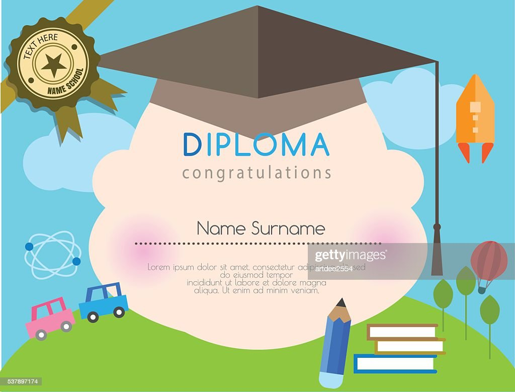 Kids diploma preschool certificate elementary school design template background.