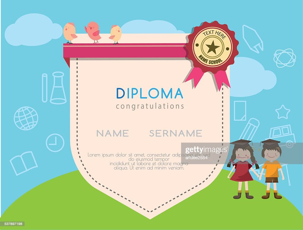 Kids diploma preschool certificate elementary school design template background.