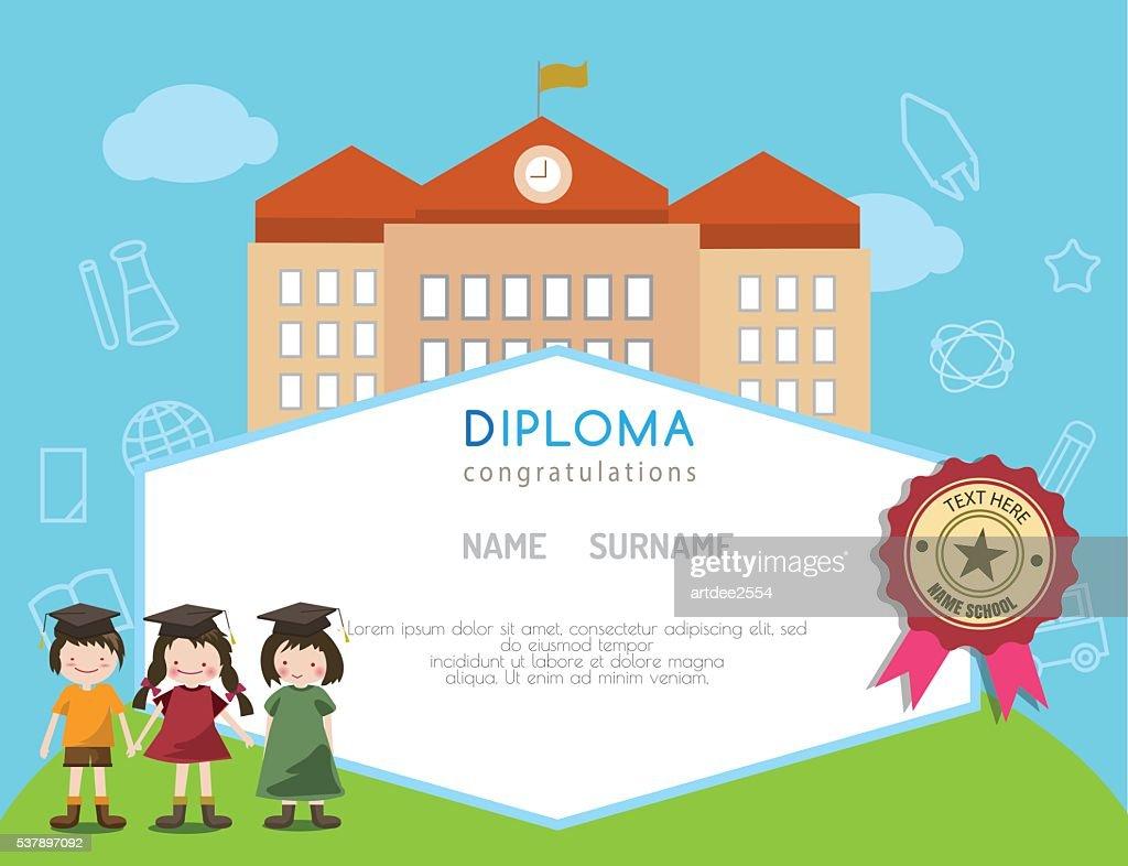 Kids diploma preschool certificate elementary school design.