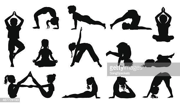 ilustraciones, imágenes clip art, dibujos animados e iconos de stock de niños haciendo yoga - yoga