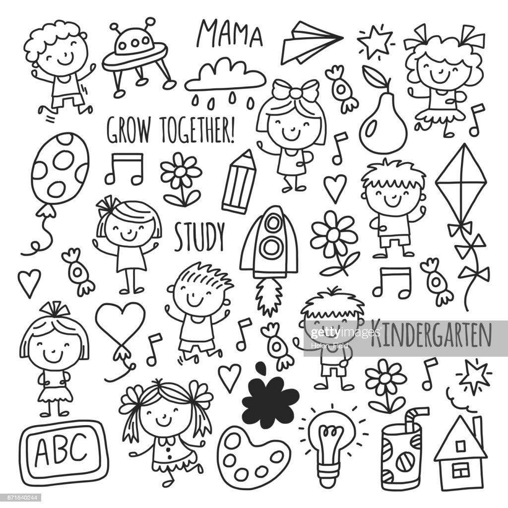 Kids drawing Kindergarten School Happy children play Illustration for kids Nursery Preschool Children icon