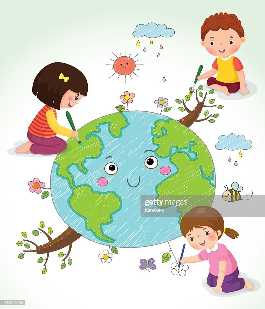 KIds drawing the Earth