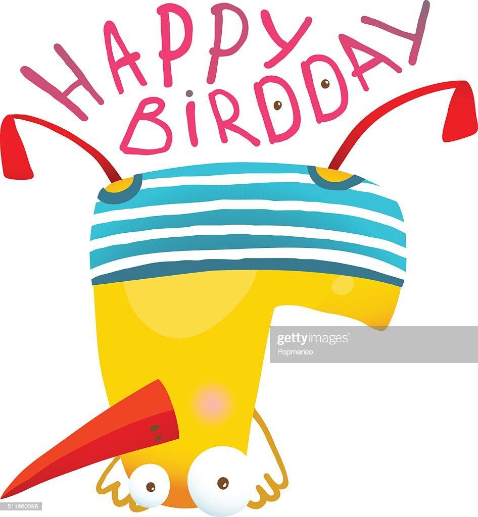Kids Duck Playing Birthday Greeting Card Design Vector Art Getty