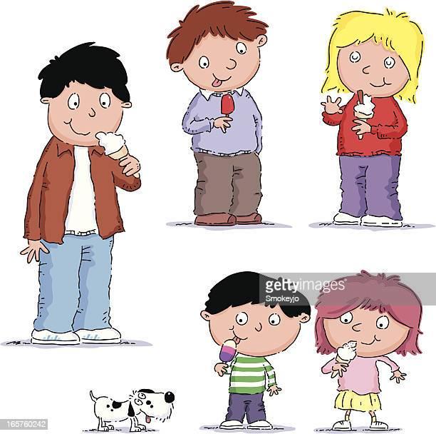 kids eat ice cream - eating ice cream stock illustrations, clip art, cartoons, & icons