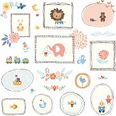 Kids Elements and Hand Drawn Frames
