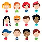 Kids faces collection (vector design)