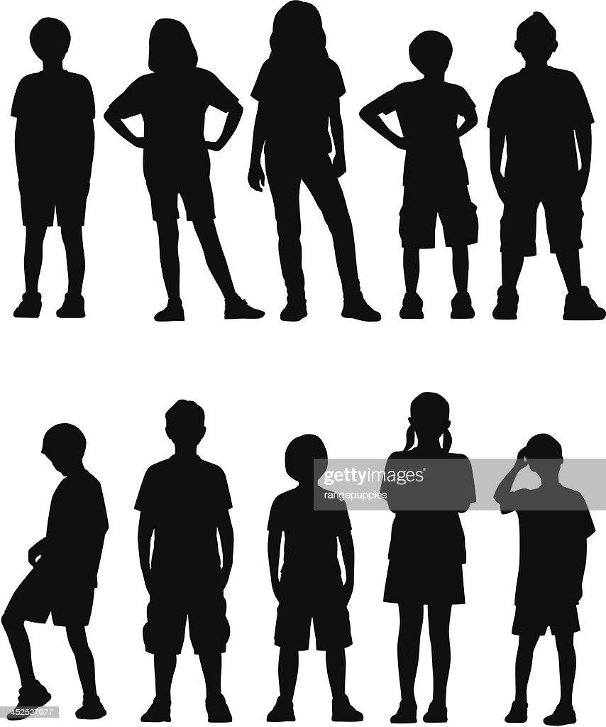 Kids Facing Front : stock illustration