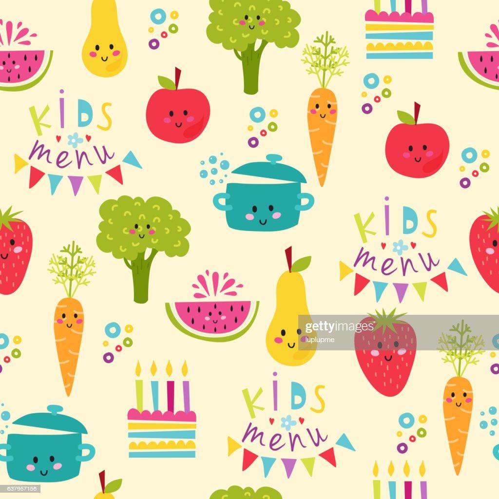 Kids food menu background vector illustration