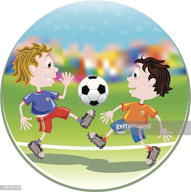 Kids' Football Tackling Action