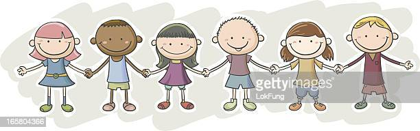 kids' friendship cartoon character - holding hands stock illustrations