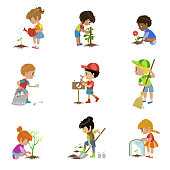 Kids Gardening Illustrations Set