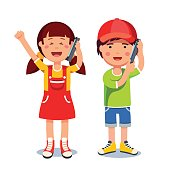 Kids girl and boy talking on a mobile smart phones