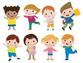 Kids go to school, back to school, Cute cartoon children, happy children