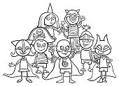 kids group at mask ball coloring book