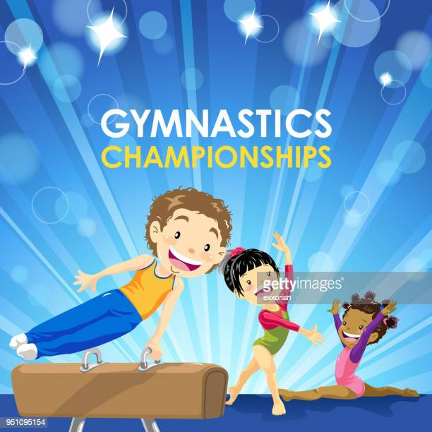 kids gymnastics championship - gymnastics stock illustrations, clip art, cartoons, & icons