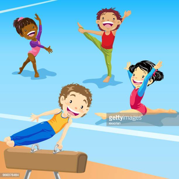 kids gymnastics training - gymnastics stock illustrations, clip art, cartoons, & icons