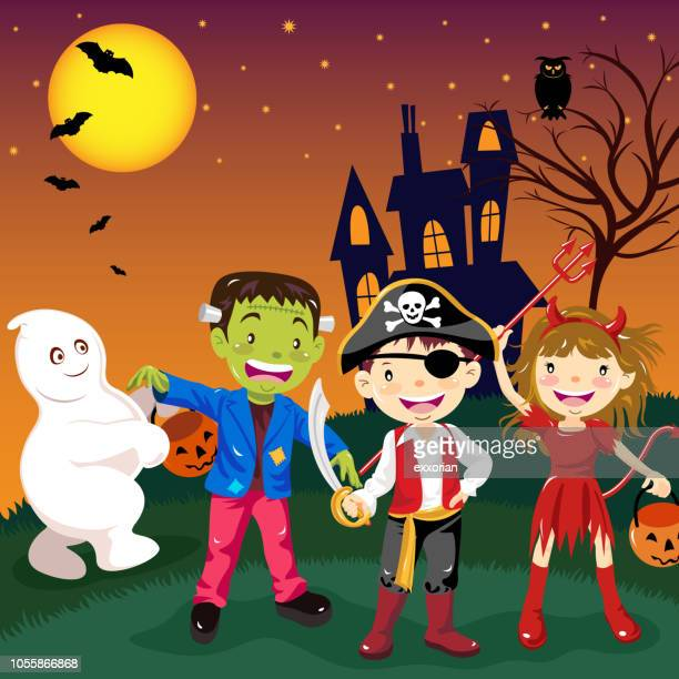 kids halloween costume party - period costume stock illustrations
