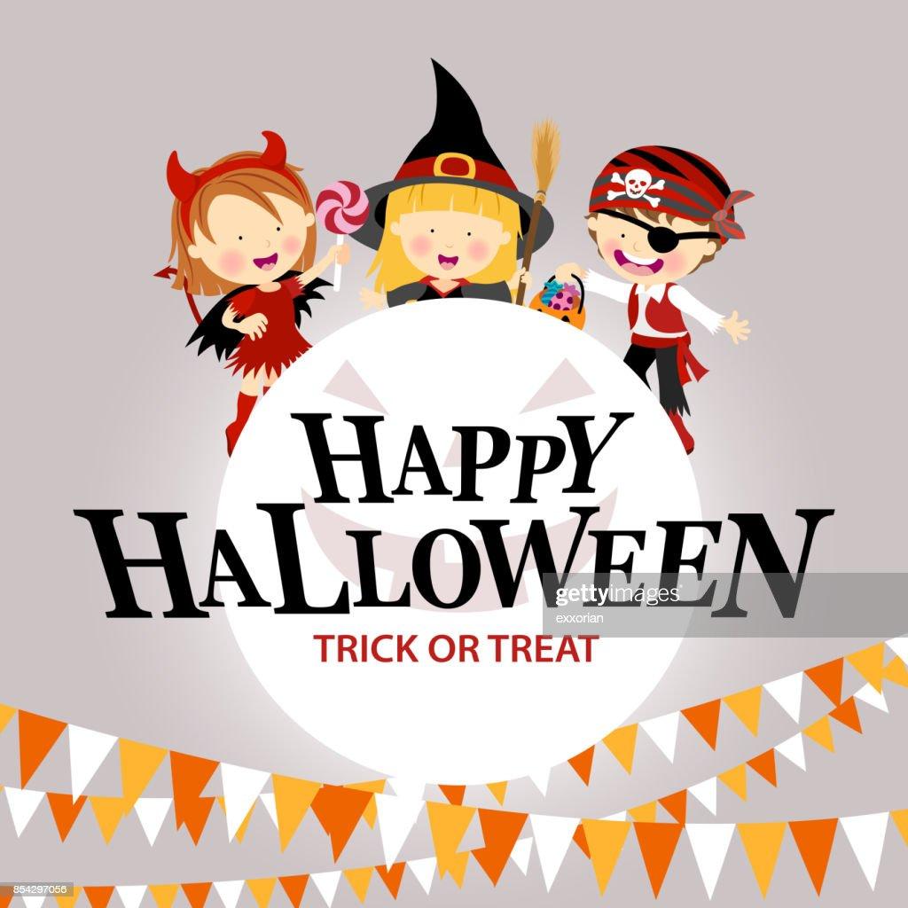 Kids Halloween Costume Party : stock illustration
