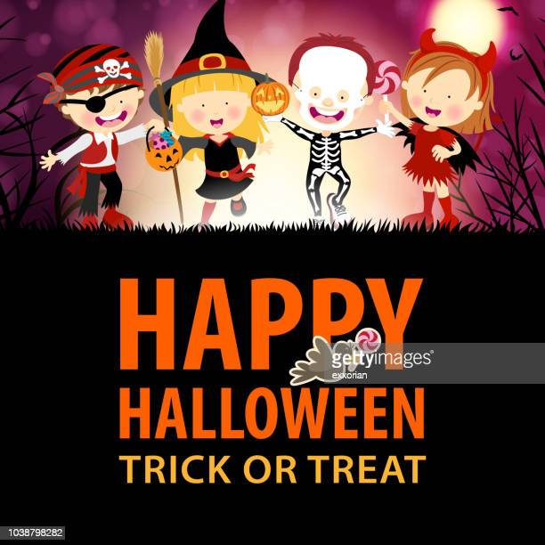 kids halloween party - parade stock illustrations