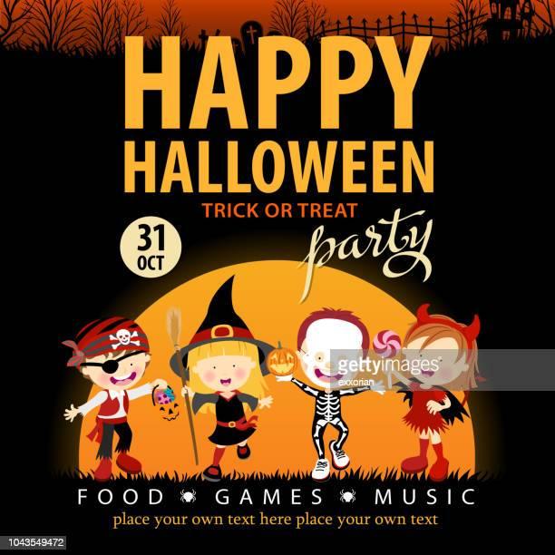 illustrations, cliparts, dessins animés et icônes de enfants fête d'halloween - arbre sans feuillage